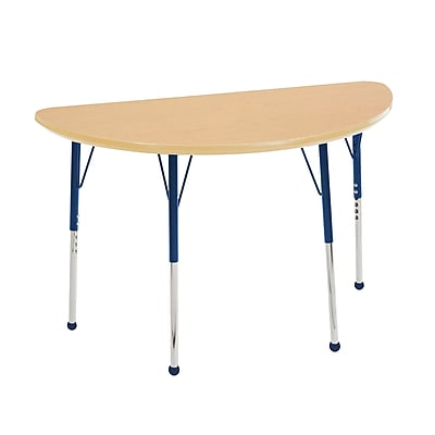 "24""x48"" Half Round T-Mold Activity Table, Maple/Maple/Navy/Standard Ball"