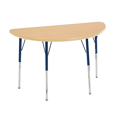 "24""x48"" Half Round T-Mold Activity Table, Maple/Maple/Navy/Standard Swivel"