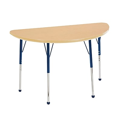 """24""""x48"""" Half Round T-Mold Activity Table, Maple/Maple/Navy/Toddler Ball"""