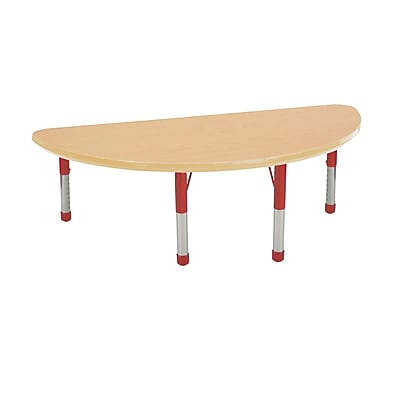 "24""x48"" Half Round T-Mold Activity Table, Maple/Maple/Red/Chunky"