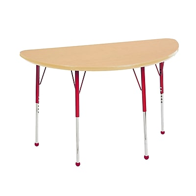 """24""""x48"""" Half Round T-Mold Activity Table, Maple/Maple/Red/Toddler Ball"""