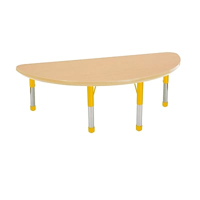 "24""x48"" Half Round T-Mold Activity Table, Maple/Maple/Yellow/Chunky"