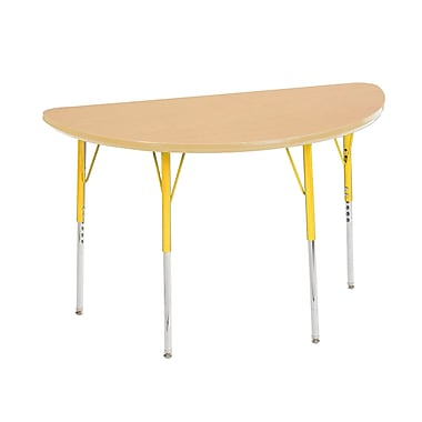 """24""""x48"""" Half Round T-Mold Activity Table, Maple/Maple/Yellow/Toddler Swivel"""