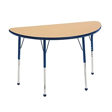 "24""x48"" Half Round T-Mold Activity Table, Maple/Navy/Toddler Ball"