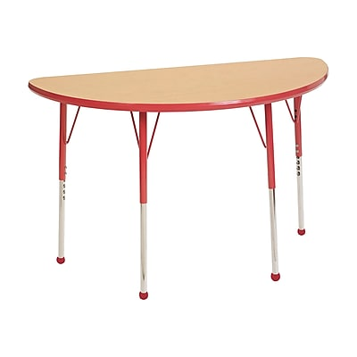 """24""""x48"""" Half Round T-Mold Activity Table, Maple/Red/Standard Ball"""