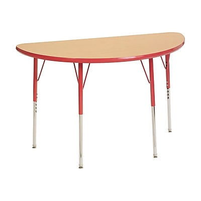 "24""x48"" Half Round T-Mold Activity Table, Maple/Red/Standard Swivel"