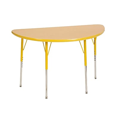 "24""x48"" Half Round T-Mold Activity Table, Maple/Yellow/Toddler Swivel"