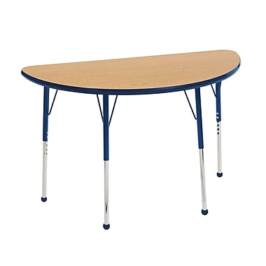 "24""x48"" Half Round T-Mold Activity Table, Oak/Navy/Toddler Ball"