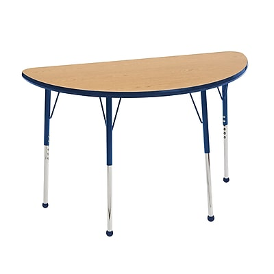"24""x48"" Half Round T-Mold Activity Table, Oak/Navy/Toddler Ball"