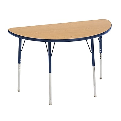 "24""x48"" Half Round T-Mold Activity Table, Oak/Navy/Toddler Swivel"