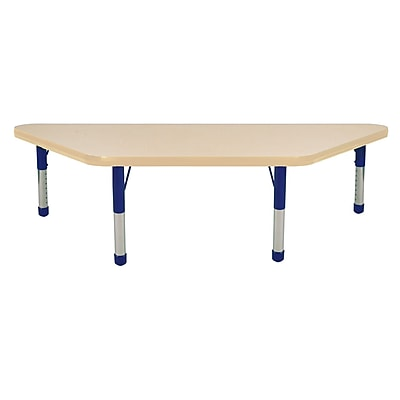 "24""x48"" Trapezoid T-Mold Activity Table, Maple/Maple/Blue/Chunky"