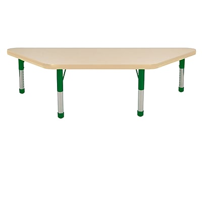 """24""""x48"""" Trapezoid T-Mold Activity Table, Maple/Maple/Green/Chunky"""