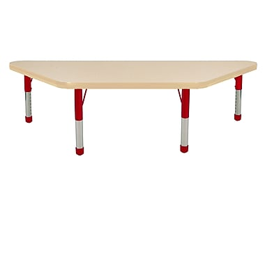 "24""x48"" Trapezoid T-Mold Activity Table, Maple/Maple/Red/Chunky"