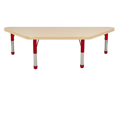 """24""""x48"""" Trapezoid T-Mold Activity Table, Maple/Maple/Red/Chunky"""
