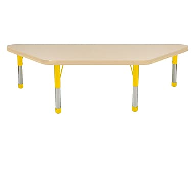 """24""""x48"""" Trapezoid T-Mold Activity Table, Maple/Maple/Yellow/Chunky"""