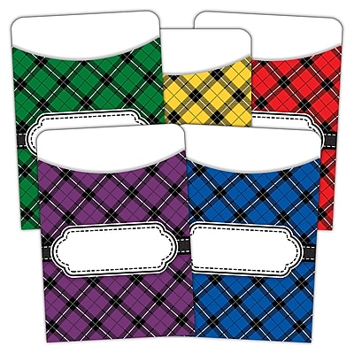 Teacher Created Resources Plaid Library Pockets Multi Pack, Pack of 35 (TCR5332)