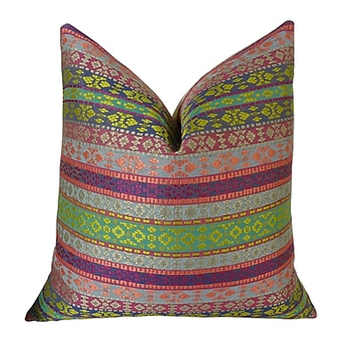 Plutus Brands Fuchsia Stripes Double Sided Throw Pillow; 20'' H x 20'' W