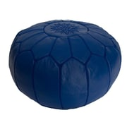 Casablanca Market Embroidered Leather Ottoman; Blue