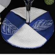 Pacific Table Linens Bouquet Wine Glass Coaster (Set of 2); Navy / White