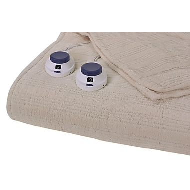 Perfect Fit Industries Triple Rib Electric Heated Warming Throw; Natural