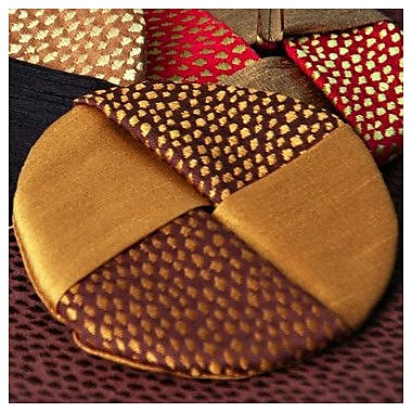Pacific Table Linens Naples Wine Glass Coaster (Set of 2); C01-Saddle/Gold