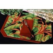 Pacific Table Linens Outdoor Table Linen Reversible Placemat (Set of 2); Makeba Capri