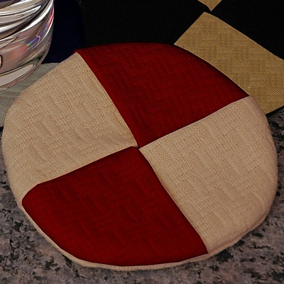 Pacific Table Linens Wicker Wine Glass Coaster (Set of 2); Cinnabar / Chamois