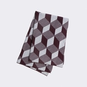 Scantrends Jacquard Knitted Squares Cotton Blanket; Bordeaux