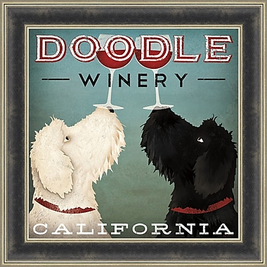 Tangletown Fine Art Doodle Wine by Ryan Fowler Framed Vintage Advertisement