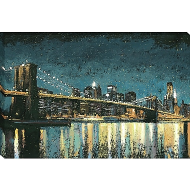 Tangletown Fine Art Bright City Lights Blue I by James Wiens Framed Painting Print on Wrapped Canvas