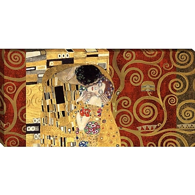 Tangletown Fine Art The Kiss Gold by Gustav Klimt Framed Graphic Art on Wrapped Canvas