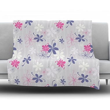 KESS InHouse Lively Blossoms by Emma Frances Fleece Throw Blanket; 90'' H x 90'' W