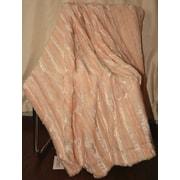 De Moocci Plush Stripped Throw Blanket; Champagne