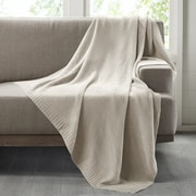 Ink + Ivy Bree Knit Throw Blanket; Ivory