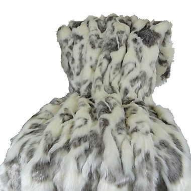 Plutus Brands Rabbit Fur Handmade Throw; 90'' L x 108'' W