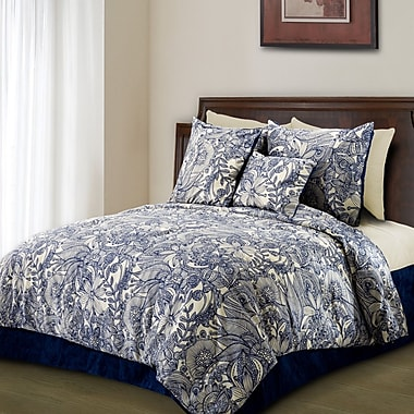 Valentina Flowers and Doodles Microfiber Duvet Cover Set; Twin
