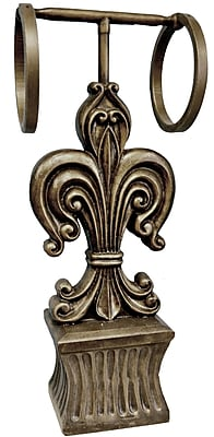 Hickory Manor House Fleur de Lis Double Free Standing Towel Stand; Gold Wash