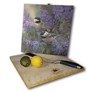 WGI GALLERY Chickadees and Lilac 12'' x 12'' Cutting Board