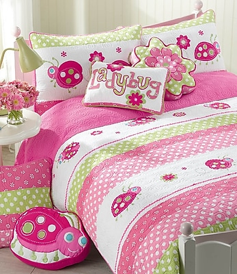 Cozy Line Home Fashion Pink Ladybug Cotton 3 Piece Quilt/Coverlet Set; Full/Queen