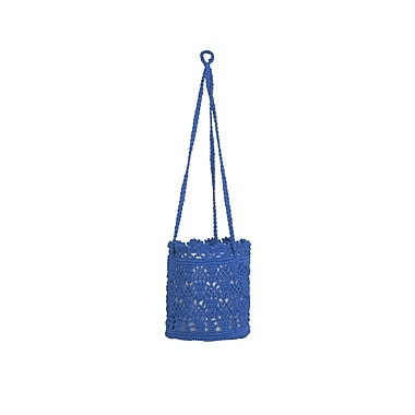 Heritage Lace Mode Crochet Hanging Basket (Set of 2); Cobalt Blue