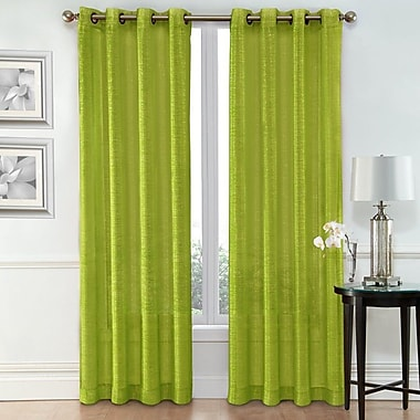 Ruthy's Outlet Solid Sheer Grommet Curtain Panels (Set of 2); Green