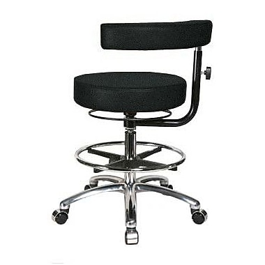 Perch Chairs & Stools Height Adjustable Dental Stool w/ Procedure Arm; Black Fabric