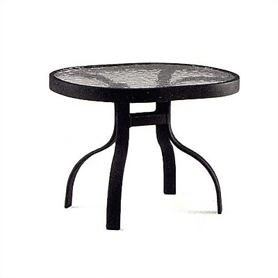 Woodard Deluxe Obscure Glass Aluminum Side Table; Midnight