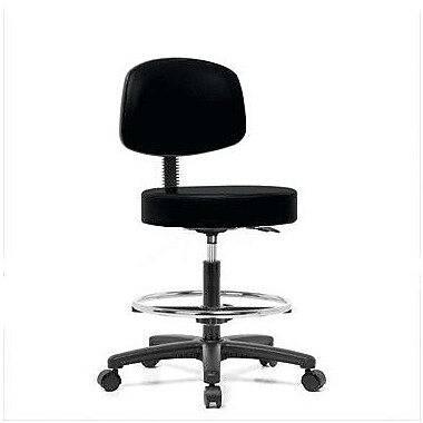 Perch Chairs & Stools Height Adjustable Exam Stool w/ Basic Backrest and Foot Ring; Black Vinyl