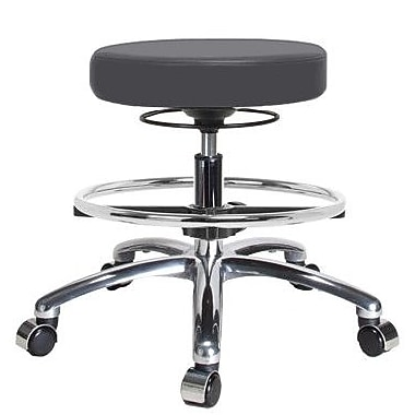 Perch Chairs & Stools Height Adjustable Massage Therapy Swivel Stool w/ Foot Ring; Charcoal Vinyl