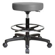 Perch Chairs & Stools Height Adjustable Swivel Stool w/ Foot Ring; Grey Vinyl