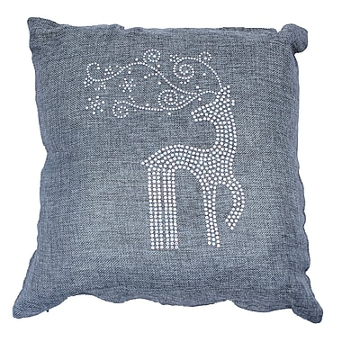 Sparkles Home Holiday Rhinestone Reindeer and Snowflakes Throw Pillow; Ash
