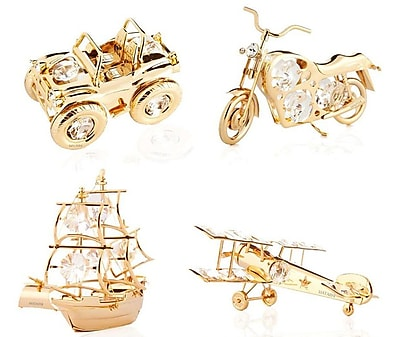 MatashiCrystal Ship, Motorcycle, Airplane & Jeep Ornament Set (Set of 4) WYF078279087390