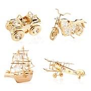 MatashiCrystal 4 Piece Ship, Motorcycle, Airplane & Jeep Ornament Set (Set of 4)