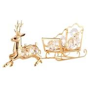 MatashiCrystal 2 Piece Reindeer and Sleigh Ornament Set